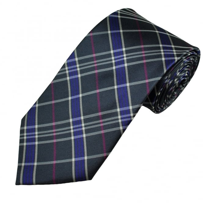 Grey, Purple, Pink & White Checked Men's Silk Tie