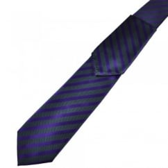 Grey & Purple Striped Tie & Hanky Set