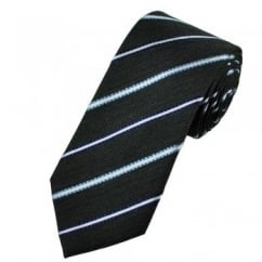 Grey, Shades of Blue & White Striped Silk Tie