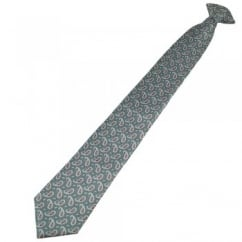 Grey, Silver & Blue Paisley Patterned Clip On Tie