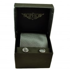 Grey & Silver Micro Polka Dot Men's Tie, Hanky & Cufflinks Set