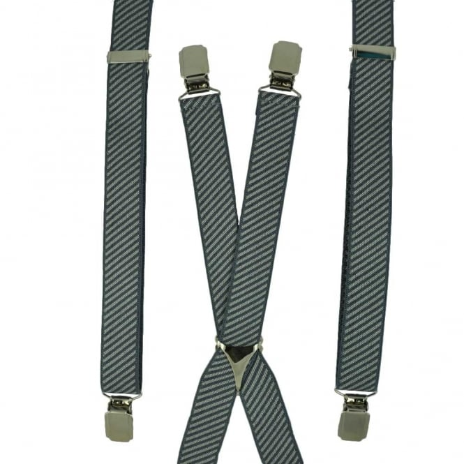 Grey & Silver Striped Skinny Trouser Braces