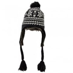 Grey & White Patterned Peruvian Bobble Hat - Unisex
