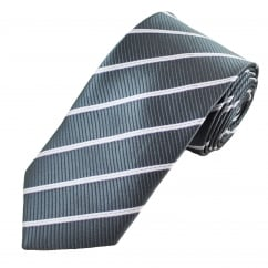Grey, White & Purple Striped Men's Tie