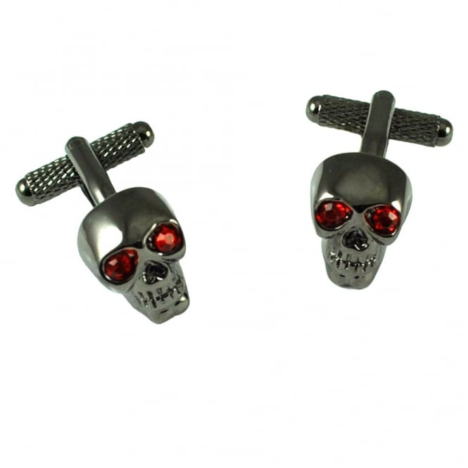 gunmetal skull with red eyes cufflinks