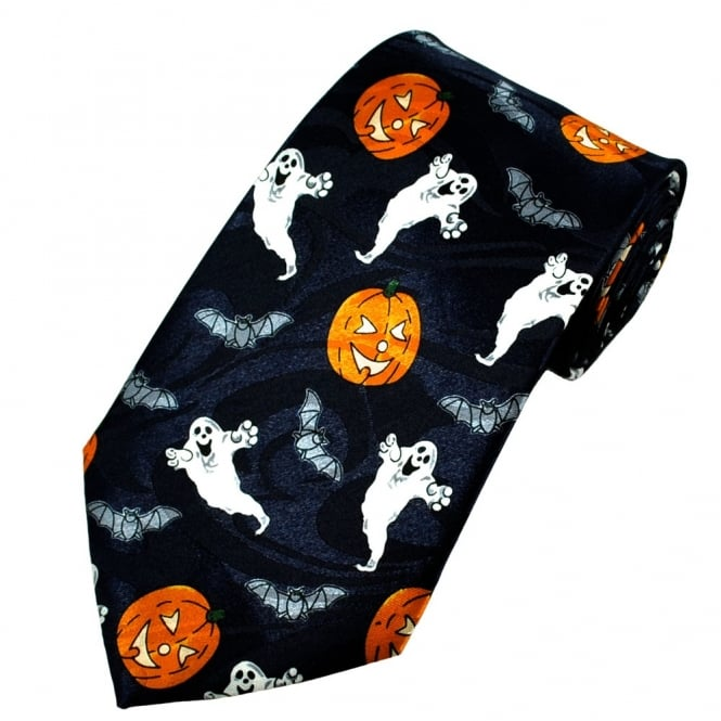 Halloween Pumpkins, Ghosts & Bats Novelty Tie