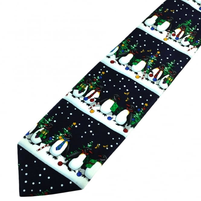 Happy Christmas Carol Singing Penguins Navy Blue Novelty Tie