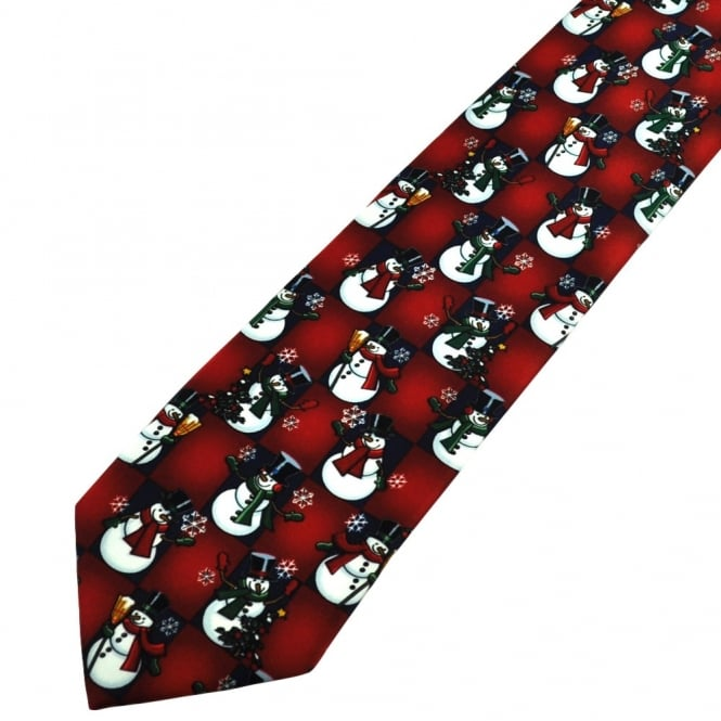 Happy Snowman Red & Navy Blue Checked Novelty Christmas Tie