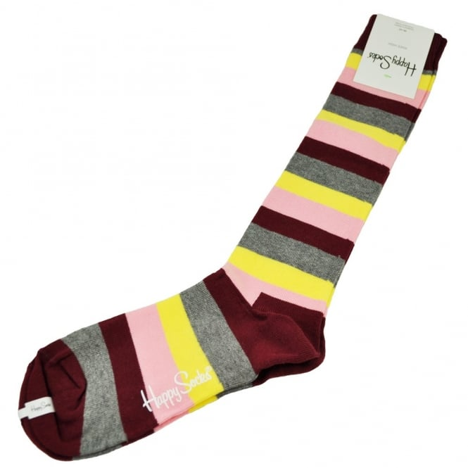 Happy Socks Burgundy, Pink, Yellow & Grey Striped Women's Knee High Socks