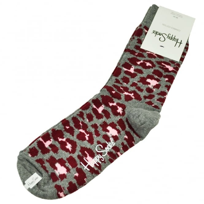 Happy Socks Grey, Burgundy & Pink Leopard Patterned Women's Socks