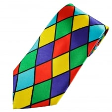 Harlequin Check Design Red, Blue, Yellow, Green & Turquoise Novelty Tie