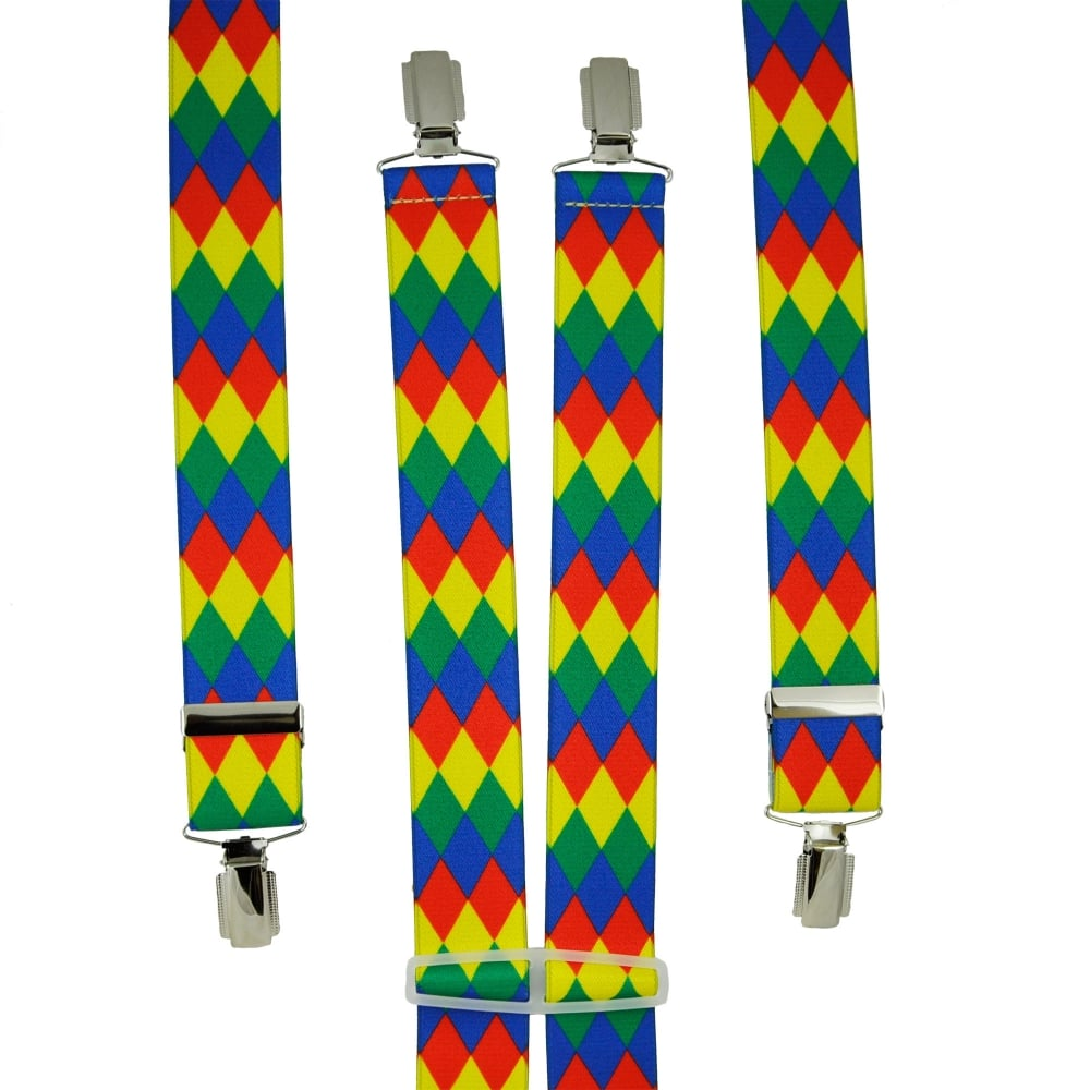 Harlequin Check Design Red, Yellow, Green & Blue Men's Trouser Braces