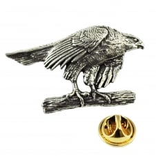 Hawk Bird of Prey English Pewter Lapel Pin Badge