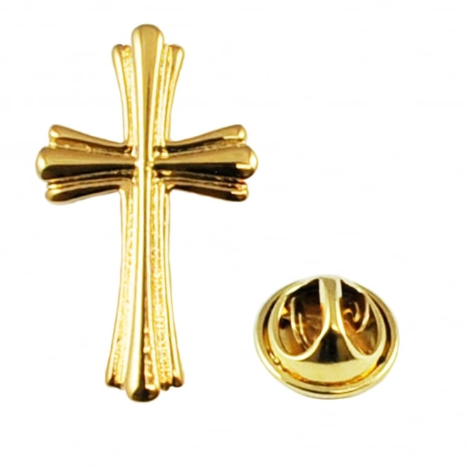 High Detailed Ornate Golden Christian Cross Lapel Pin Badge