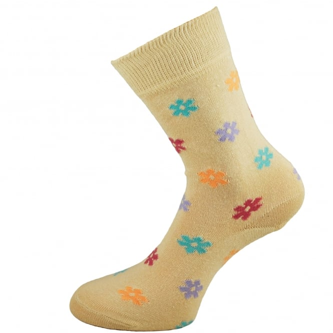 HJ Hall Beige Floral Patterned Women's Socks