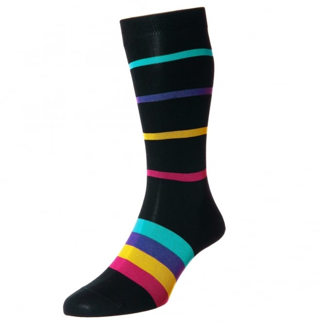 HJ Hall Black, Fuchsia, Yellow, Purple & Blue Horizontal Striped Egyptian Cotton Men's Socks