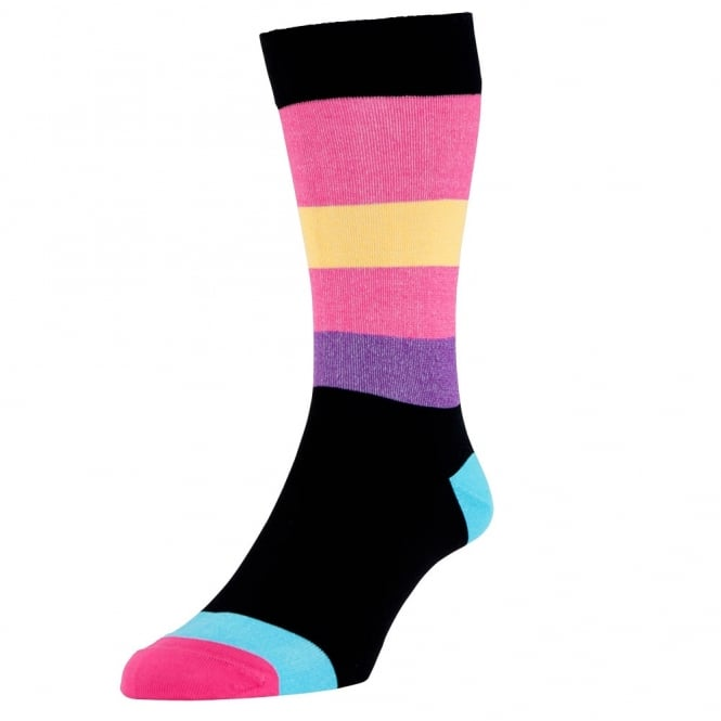 HJ Hall Black, Pink, Yellow, Purple & Blue Striped Luxury Mercerised Cotton Men's Socks