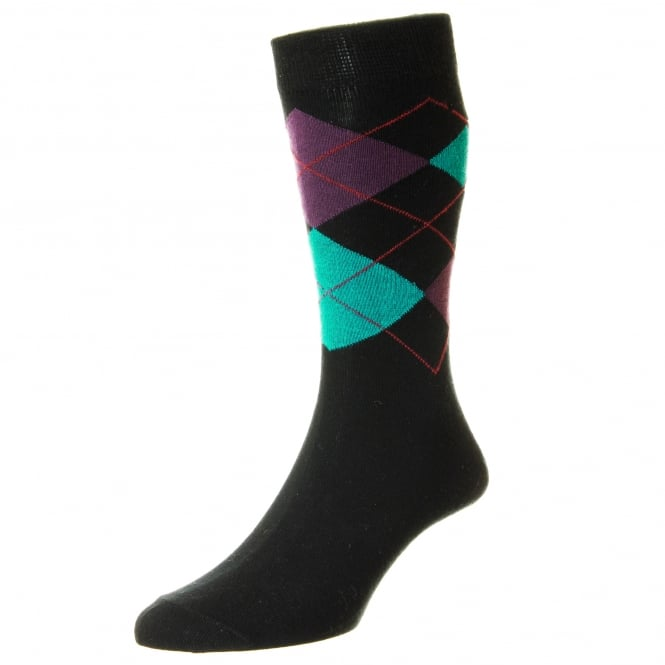 HJ Hall Black, Purple & Turquoise Checked Supersoft Bamboo Men's Socks