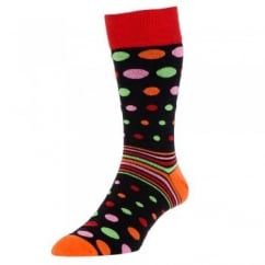 HJ Hall Black Spots & Striped Men's Socks 2-PACK