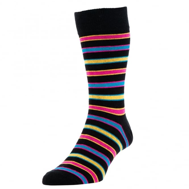 HJ Hall Black, Yellow, Pink & Blue Striped Luxury Bamboo Men's Socks