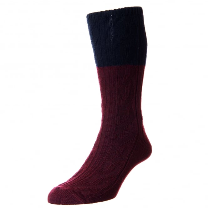 HJ Hall Burgundy & Navy Blue Premium Merino Wool Men's Socks 7-10