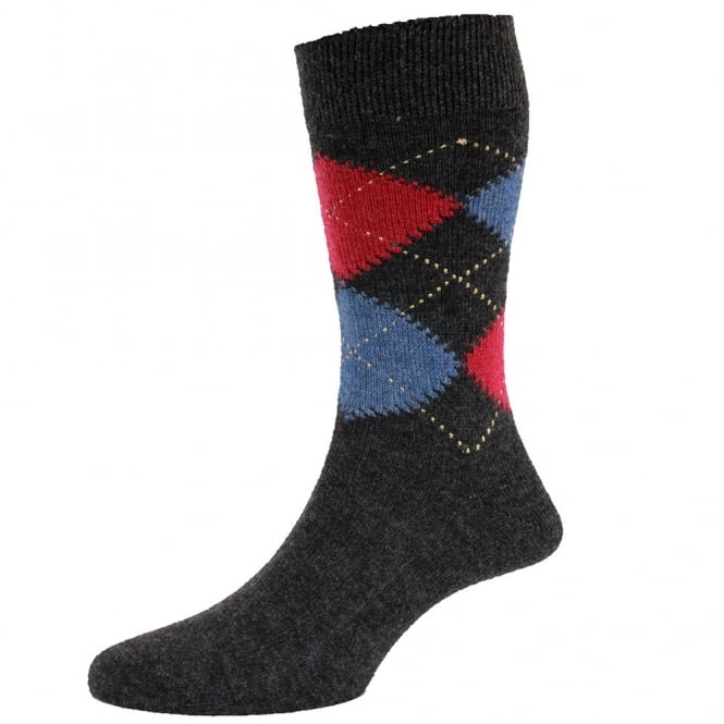 HJ Hall Charcoal Grey, Cranberry Red & Denim Blue Argyle Luxury Lambswool Men's Socks
