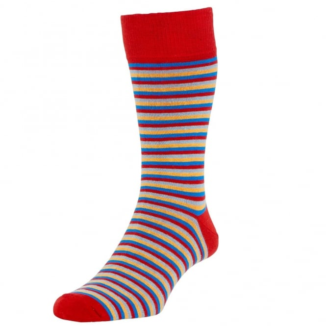 HJ Hall Cranberry Red, Blue, Yellow & Light Blue Striped Luxury Bamboo Rich Men's Socks