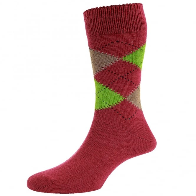 HJ Hall Cranberry Red, Taupe Brown & Lime Green Argyle Luxury Lambswool Men's Socks