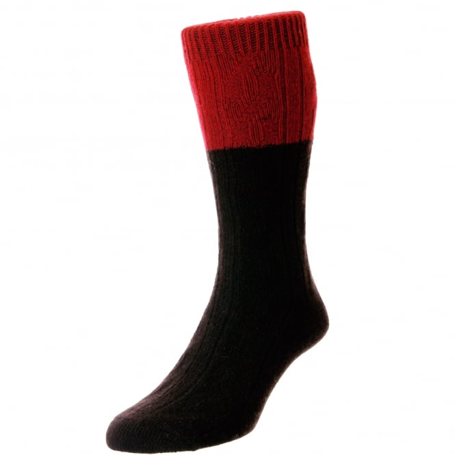 HJ Hall Dark Brown & Red Premium Merino Wool Men's Socks 7-10