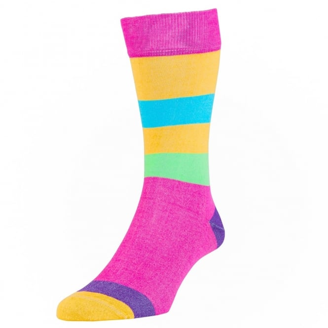 HJ Hall Fuchsia Miami Striped Luxury Mercerised Men's Socks