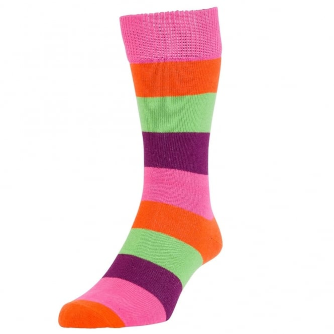 HJ Hall Fuchsia Pink Block Striped Men's Socks