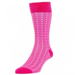 HJ Hall Fuchsia Pink & White Polka Dot Luxury Mercerised Men's Socks