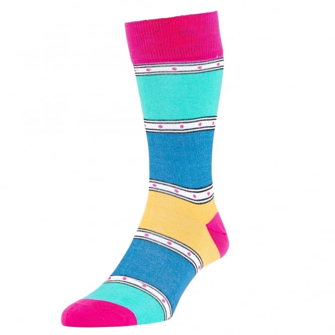 HJ Hall Fuchsia, Yellow, Blue & Turquoise Striped Patterned Luxury Mercerised Men's Socks