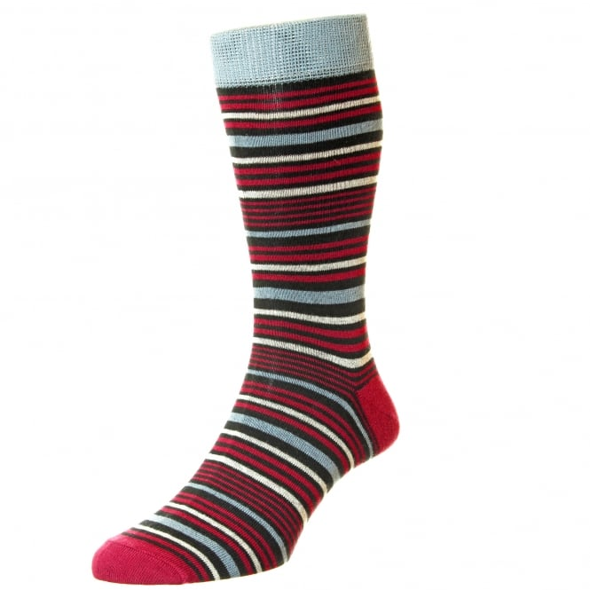 HJ Hall Grey, Black, Red & Ivory Horizontal Striped Supersoft Bamboo Men's Socks