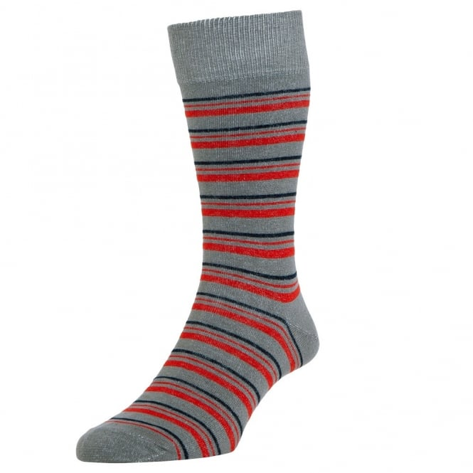 HJ Hall Grey, Red & Navy Striped Men's Socks