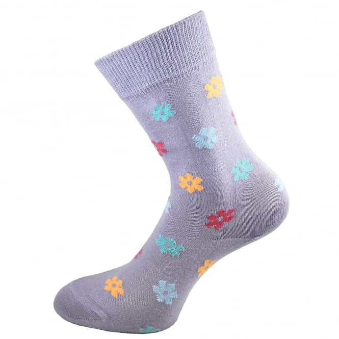 HJ Hall Lilac Floral Patterned Women's Socks