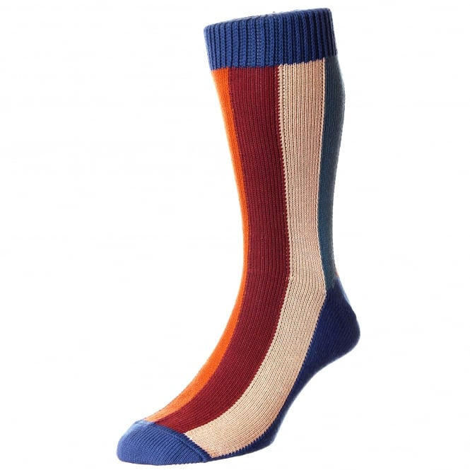 HJ Hall Navy, Beige, Red, Teal & Pumpkin Striped Men's Socks