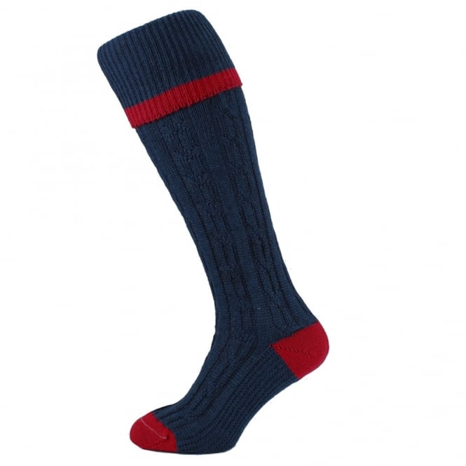 HJ Hall Navy Blue Cable Stripe Merino Wool Blend Men's Shooting Socks