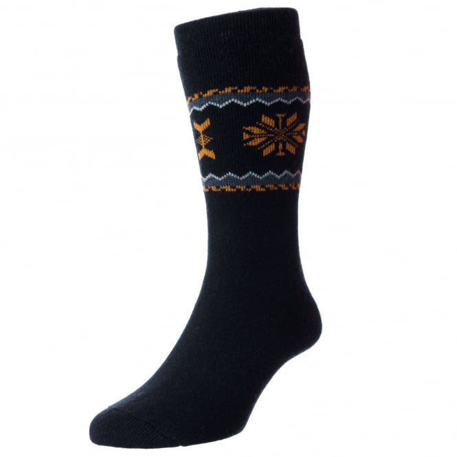 HJ Hall Navy Blue, Gold & Grey Patterned Premium Merino Wool Men's Socks 7-10