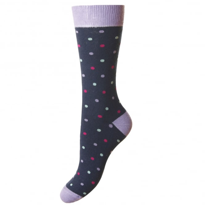HJ Hall Navy Blue & Lilac Polka Dot Supersoft Bamboo Women's Socks