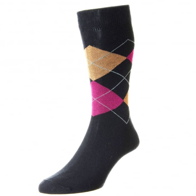 HJ Hall Navy Blue, Pink & Beige Checked Supersoft Bamboo Women's Socks