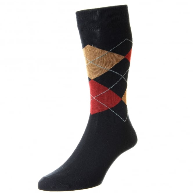 HJ Hall Navy Blue, Red & Beige Checked Supersoft Bamboo Men's Socks