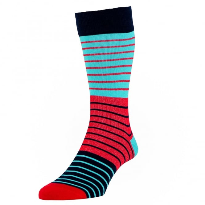 HJ Hall Navy Blue, Red & Turquoise Striped Luxury Mercerised Men's Socks