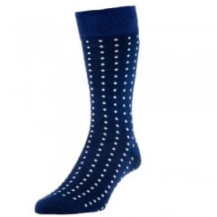 HJ Hall Navy Blue & White Polka Dot Luxury Mercerised Men's Socks