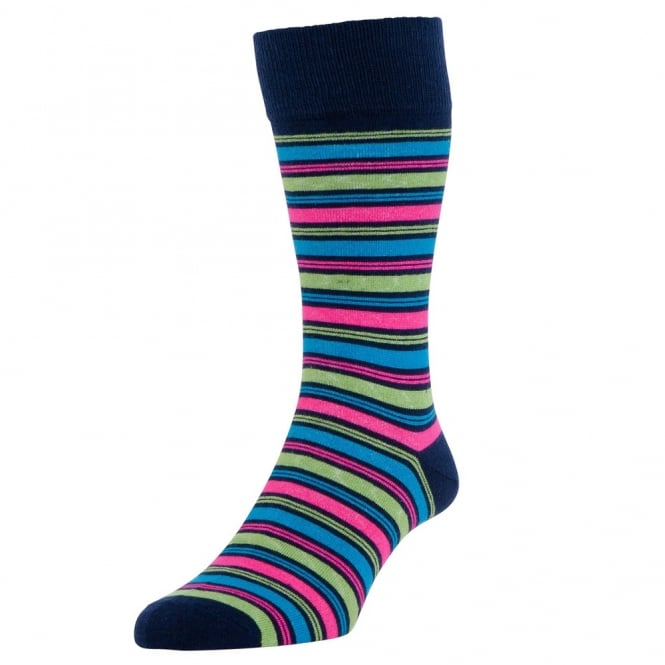 HJ Hall Navy, Pink, Blue & Lime Striped Men's Socks 2-PACK