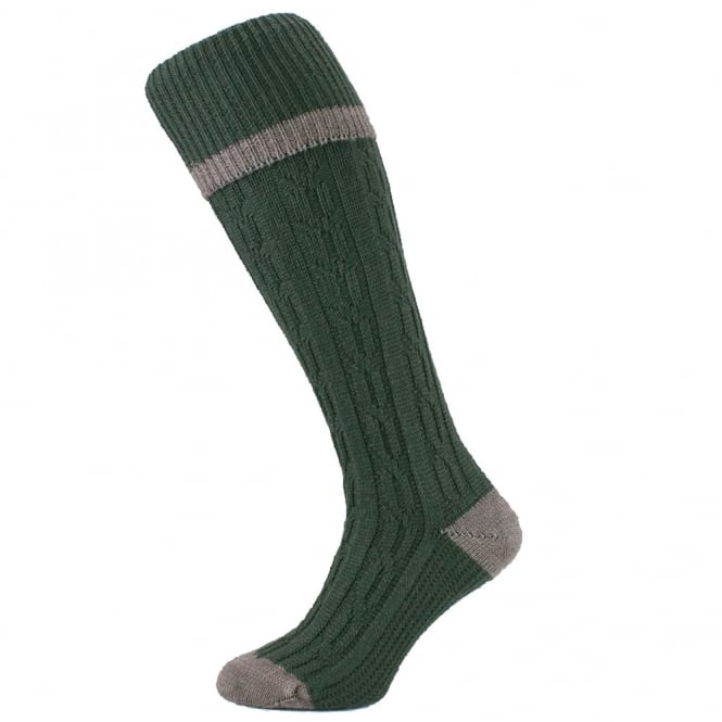 HJ Hall Olive Green Cable Stripe Merino Wool Blend Men's Shooting Socks