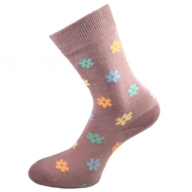 HJ Hall Pastel Pink Floral Patterned Women's Socks