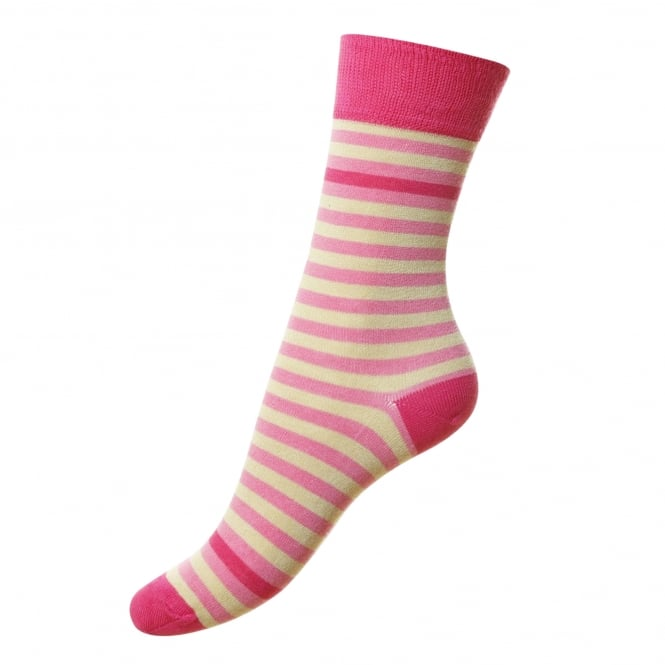 HJ Hall Pink & Ivory Striped Supersoft Bamboo Women's Socks