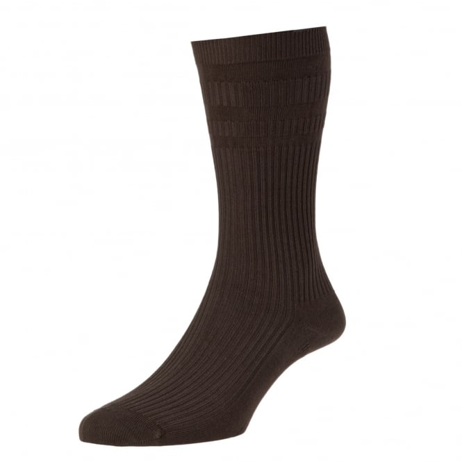 HJ Hall Plain Dark Brown Cotton Softop Men's Socks
