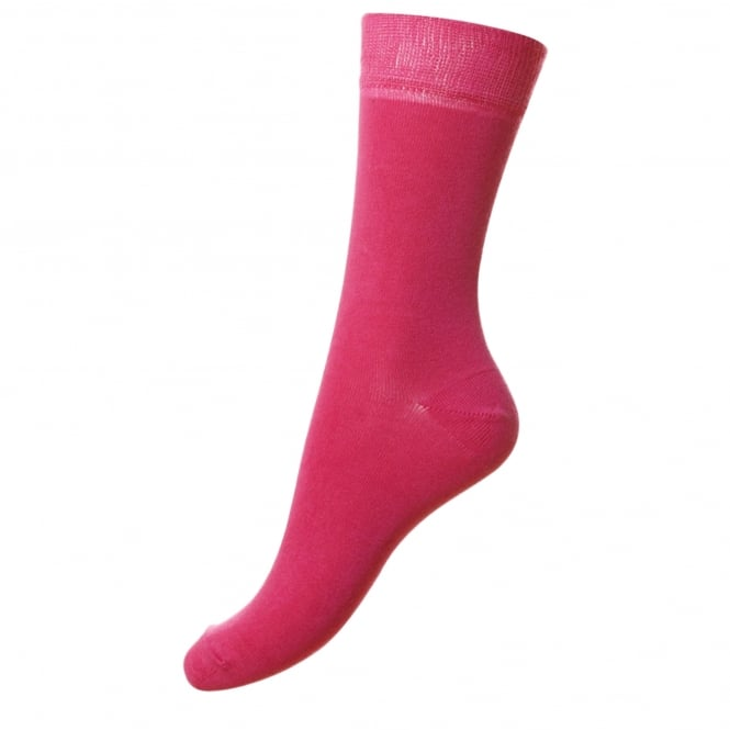 HJ Hall Plain Fuchsia Pink Supersoft Bamboo Women's Socks
